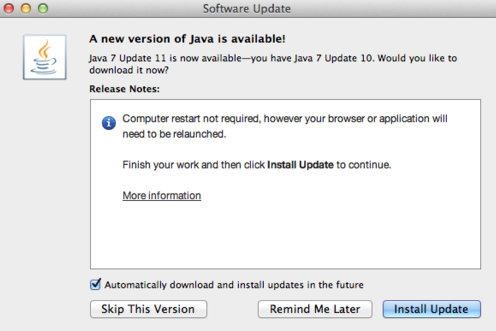 java 7 version 11 mac